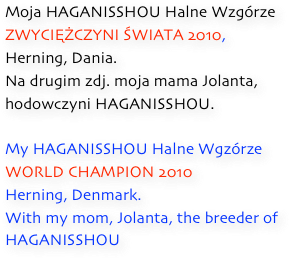 Moja HAGANISSHOU Halne Wzgórze ZWYCIĘŻCZYNI ŚWIATA 2010, Herning, Dania.
