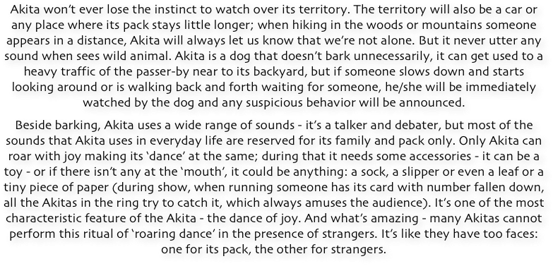 ABOUT CHARACTER OF AKITA